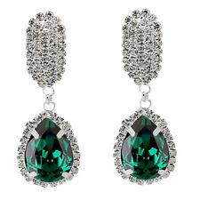 Luxury Diamond Shine Rhinestone Emerald Green Christmas Gift Drop Earrings E865
