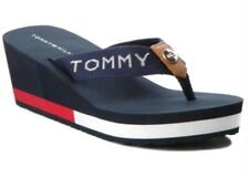 Tommy Hilfiger Corporate Highwedge Womens Navy Red Blue Beach Sandals Size UK3.5
