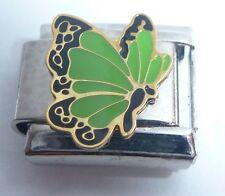 GREEN BUTTERFLY 9mm Italian Charm - fits Classic Starter Bracelets August N11