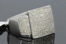 1.19 CARAT GENUINE DIAMONDS MENS WHITE GOLD FINISH ENGAGEMENT DIAMOND RING PINKY
