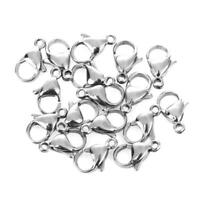 100pcs 12mm Stainless Steel Lobster Clasp Hook for DIY Jewelry Making Handicraft