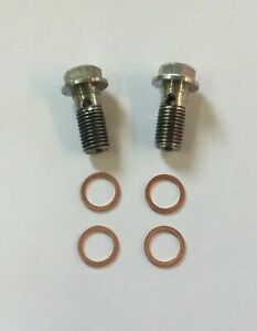 2 x Stainless Steel Brake Banjo Bolt M10 x 1.00mm Hex Head With Copper Washers