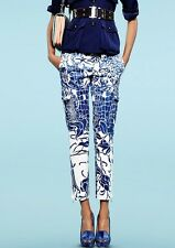 EMILIO PUCCI UK10 IT42 BLUE WHITE SILK CROC HIGH-WAISTED DRESS TROUSERS PANTS