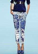 EMILIO PUCCI UK10 IT42 bleu soie blanche croco haute taille robe pantalon pantalon