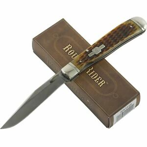 Rough Rider Brown Jigged Handles Trapperlock Folding Pocket Knife RR1129