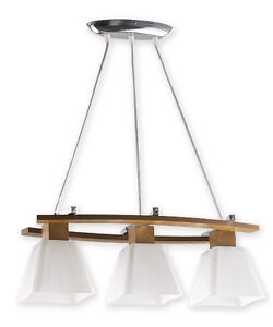 OAK - 3 PENDANT CEILING LIGHT - CHROME WOOD GLASS MODERN CLASSIC RETRO LED
