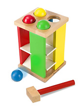 Deluxe Pound and Roll Wooden Tower Toy With Hammer 4 Balls Ages 2 and Up, New