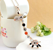 RF 18k Gold Plated White Crystal Long Neck Giraffe Pendant Necklace Chain