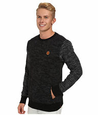 BILLABONG Fairmont CREW NECK Hand POCKET Fleece SWEATER Mens sz MEDIUM Black NEW