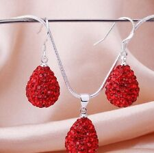 SPARKLY SHAMBALLA15mm RED TEARDROP EARRINGS &  NECKLACE SET-17 INCH SILVER CHAIN