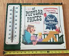 """1960's Pabst Blue Ribbon Beer """"Gay 90's"""" Lazy Afternoon Porch Swing Thermometer"""