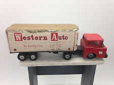 Antique Line Mar Toys Western Auto Tractor Trailer Japan #102 Pressed Steel Truc