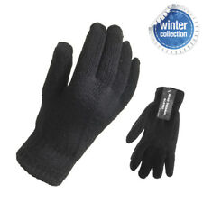 Mens Winter Gloves Thermal Double Knitted One Size Stretch Fit Black Plain