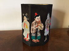 Vintage Chinese Fabric Dolls Sewing Waste Basket Immortals Export