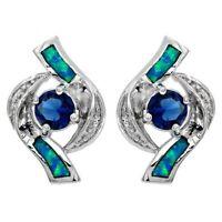 Blue Sapphire & Australian Opal Inlay 925 Sterling Silver Earrings Jewelry, RP-1