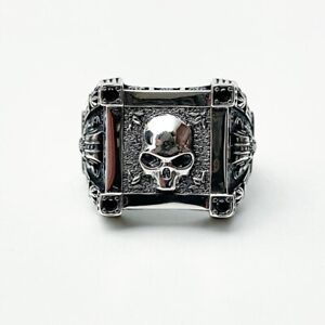 BRAND NEW STERLING SILVER 925 MENS SKULL RING SOLID HEAVY BIKERS RING RESIZABLE