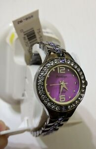 Armitron Swarovski Crystal Watch Mother Pearl Dial Gunmetal/Purple