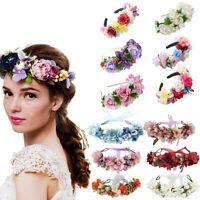 Adjustable Women's Flower Wedding Headband Crown Wreath Garland Ribbon Hairband
