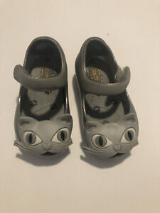 Mini Melissa Toddler Girls Size 5 Silver Gray Kitty Cat Mary Jane Jelly Shoes