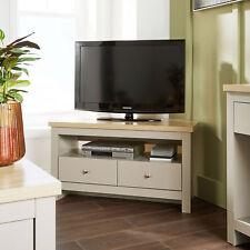 grey oak corner tv stand two tone 2 drawer cabinet television unit open shelf