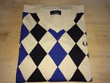 Fred Perry Mens Vintage Cotton Jumper Size XL Cream/Royal Blue/Black Argyle