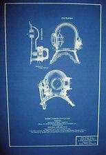 "Vintage British Navy Diving Helmet c1895 Blueprint Plan 12""x16"" (292)"