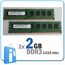 Kit 2x DIMM 2Gb DDR3 PC10600 1333MHz Non ecc Memoria ram 4096Mb 4096 Mb 4 Gb 4Gb