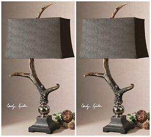 """PAIR FARMHOUSE DECOR FAUX DEER ELK ANTLER TABLE LAMPS ALUMINUM ACCENTS XL 34"""""""