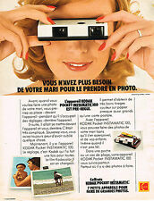 PUBLICITE ADVERTISING 084  1974   KODAK INTAMATIC 1000 POCKET  appareil photo