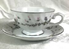 Style House Picardy Fine China Yellow and Pink Rose Cup and Saucer Silver Trim