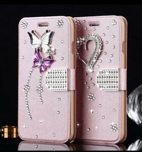 Diamond Bling Butterfly or Heart Wallet Flip Leather Case FITS Samsung ROSE GOLD