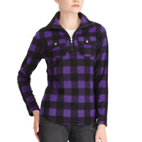 NEW Chaps Womens 1/4 Zip Buffalo Plaid Polar Fleece Shirt Top XS S M L $69 NWT