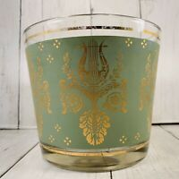 Vintage Mid Century  Green  And Gold Harp Lyre Ice Bucket Glass Heavy Some Wear