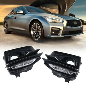 For 2014-2017 Infiniti Q50 Sport Front Fog Lights LED Turn Signal Pair w/Cover
