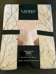 """Ralph Lauren WINTER BRANCHES Gray, Taupe & Red 60 x 104"""" Tablecloth--NWT"""
