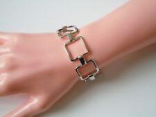 60er Jahre Stil silberfarbenes Modeschuck Armband viereckige Glieder 18 g/19 cm