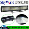 17'' Inch Quad-row LED Work Light Bar Combo Offroad Driving Lamp Car Trucks Boat