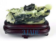 Natural Dushan Jade Carving Lotus / Crab Statue // Sculpture