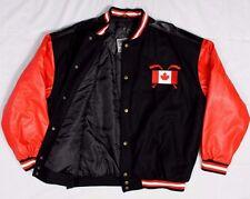 Canada Hockey Leather / Wool Jacket - Olympic Team Heavy Lined Coat - Mens XL