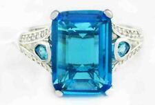 BLUE TOPAZ 8.56 Cts & WHITE SAPPHIRE RING Silver Plated * New/Tag * Size 7