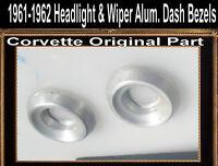 Corvette Aluminum Dash Bezel 1961 1962 Original Set of 3 Wiper Ignition headligh