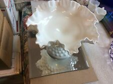 """Fenton 6"""" Tall Milk Glass Hobnail Footed Comport, MG 3920"""