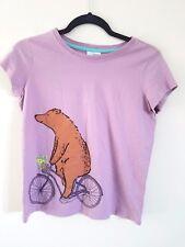 Hanna Andersson Girls Size 16-18 160 Short Sleeve Shirt Purple Bear Bicycle