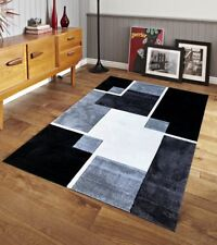 Renzo Collection Easy Clean Stain and Fade Resistant Luxury Black Area Rug