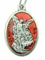 Silver Tone with Red Enamel Saint Michael the Archangel Medal, 1 Inch