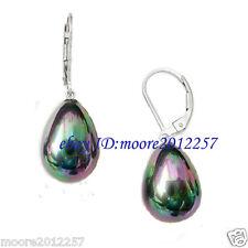 New beautiful 12X16mm Black shell pearl drop Lever back silver Dangle Earring