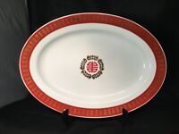 OVAL PLATTER MADE IN TAIWAN ORIENTAL MOTIF CHINESE FOOD SERVING GOLD RED WHITE