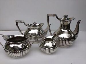 Antique sterling silver tea coffee set 4 piece hallmarked