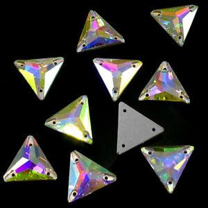 22 mm Crystal AB Triangle Sew-On Flat Back Crystal Rhinestones - 8 Pieces