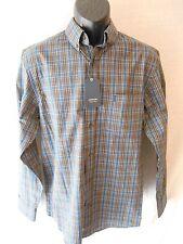 Arrow Cotton Blnd Size S Dark Denim Plaid 32/33 Button Shirt SR$54 NEW